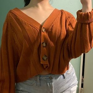 Orange cropped cardigan